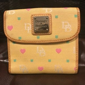 Dooney & Bourke Yellow Green Pink Hearts Wallet